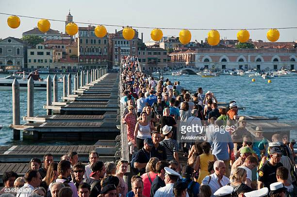 People gather on boats of all sizes at Punta della Dogana in St. Mark's Basin for the Redentore Celebrations on July 19, 2014 in Venice, Italy....