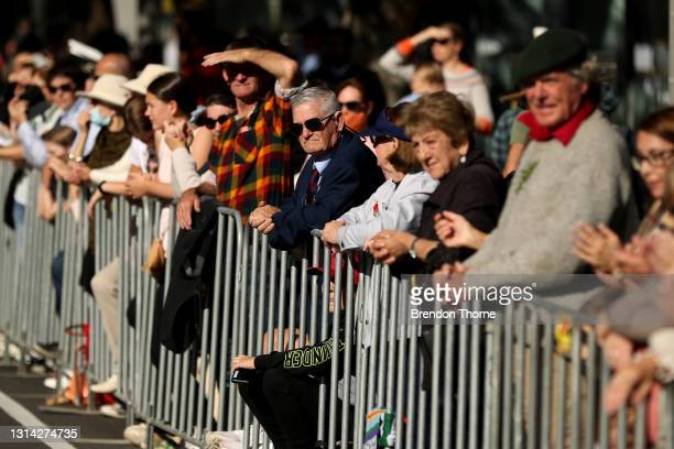 People gather on Elizabeth Street during the ANZAC Day parade on April 25, 2021 in Sydney, Australia. Anzac day is a national holiday in Australia,...