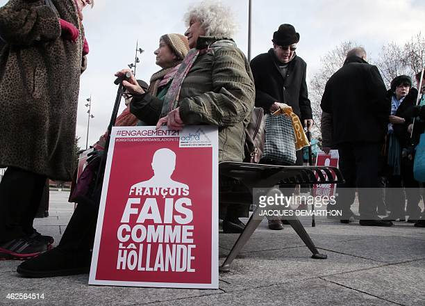 People gather on January 31 2015 to support the legalization of euthanasia in a protest called by the Association for the Right to Die in Dignity in...