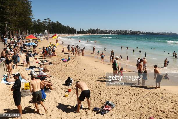People gather on Manly Beach in Sydney, Australia, on Sunday, Nov. 15, 2020. With the Southern Hemisphere summer around the corner, Sydneys beachside...