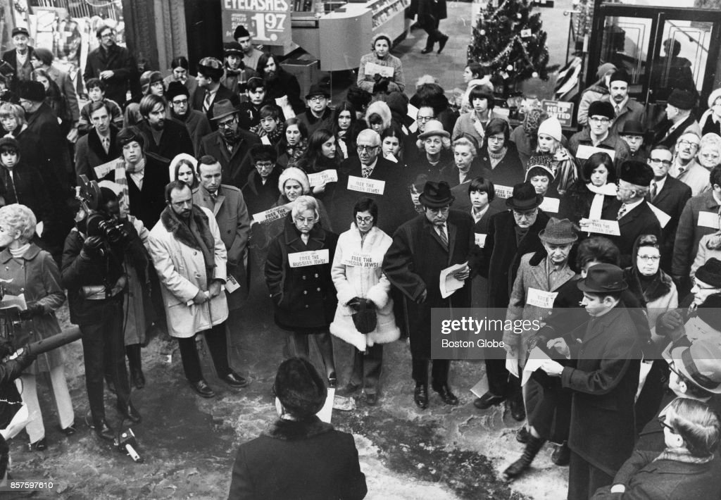 People gather outside 72 Franklin St. for the Soviet Jewry Rally in Boston, Dec. 29, 1970.