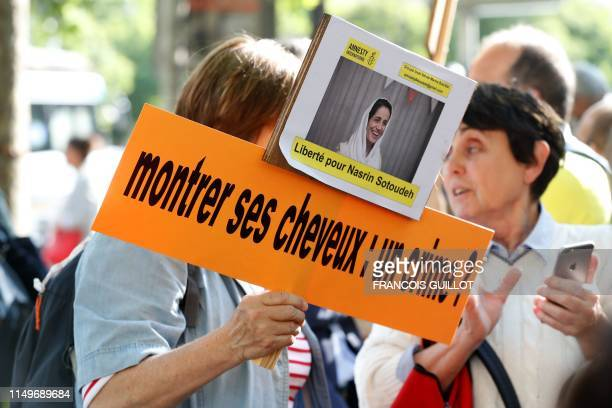 People gather outside Iran embassy in France on June 13 2019 to support Iranian human rights lawyer Nasrin Sotoudeh and demand her release Sotoudeh...