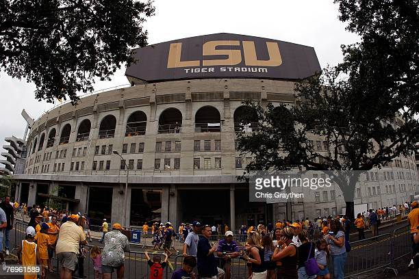 People gather outside of Tiger Stadium before the Louisiana State University Tigers play the South Carolina Gamecocks at Tiger Stadium September 22,...