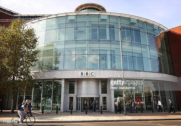 People gather outside the main entrance to the BBC Television Centre studios in Wood Lane on October 18, 2007 in London. In order to make ?2 billion...