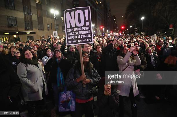 People gather outside the Trump International Hotel in Manhattan to protest against Donald Trump on January 19 2017 in New York City Trump will be...