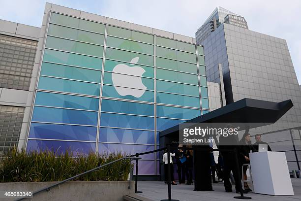 People gather outside Yerba Buena Center for the Arts before an Apple special event on March 9 2015 in San Francisco California Apple Inc is expected...