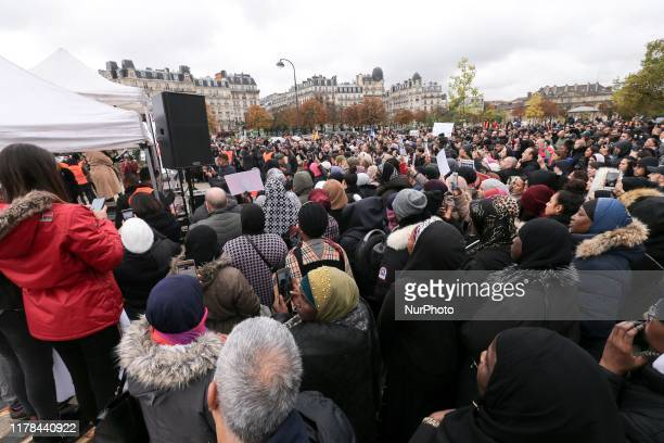 People gather place de la Nation, one of the Paris major crossroad on October 27 to protest against Islamophobia and media bias in France. A new row...