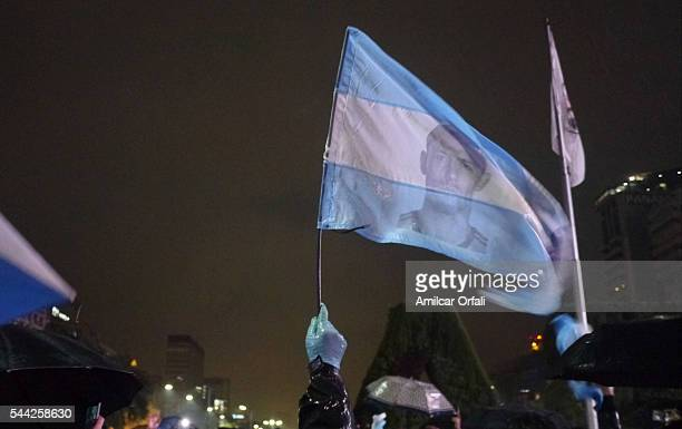 People gather to ask Lionel Messi not to quit the national team at Plaza de la Republica on July 02 2016 in Buenos Aires Argentina