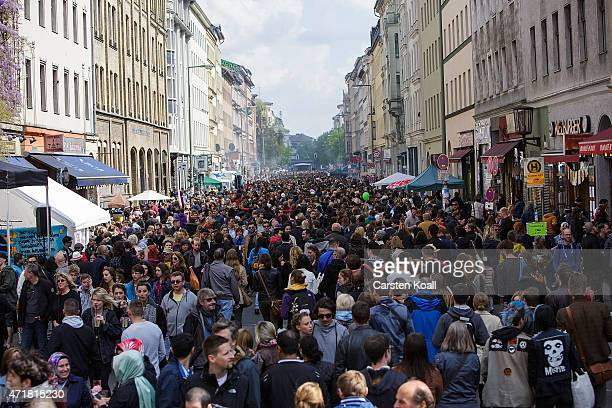 People gather to attend the annual MyFest in Kreuzberg district on May 1 2015 in Berlin Germany May Day or International Workers' Day was established...