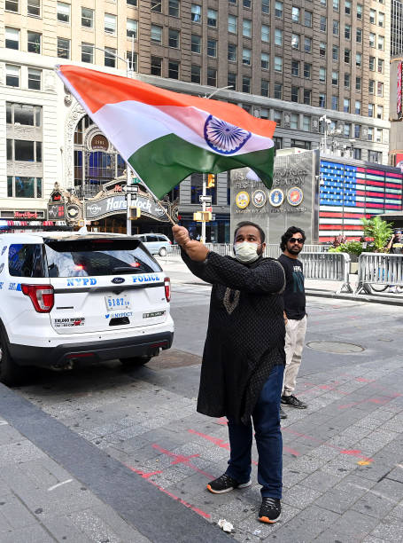 NY: The National Flag Of India Hoisted In Times Square To Mark Country's 74th Independence Day