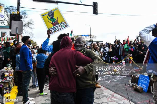 People gather to celebrate at George Floyd Square after the verdict was announced in the trial of former police officer Derek Chauvin in Minneapolis,...