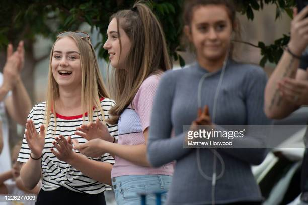 People gather to clap at the Royal Gwent Hospital on May 21 2020 in Newport United Kingdom Following the success of the Clap for Our Carers campaign...