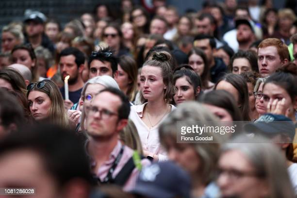 People gather to honour Grace Millane in Federal St on December 12 2018 in Auckland New Zealand The body of 22yearold Grace Millane was found in a...