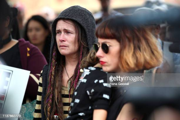People gather to march against racism at Aotea Square on March 24 2019 in Auckland New Zealand 50 people were killed and dozens were injured in...