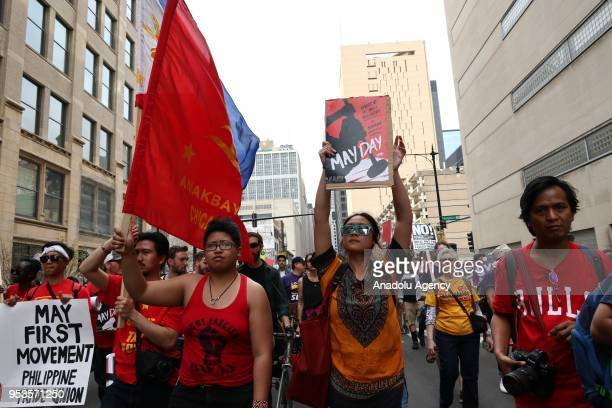 People gather to mark the May Day International Workers' Day in Chicago Illinois United States on May 1 2018