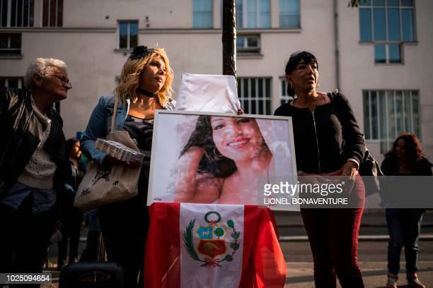 People gather to pay tribute to Vanesa Campos, a 36 year-old transsexual sex worker who was killed on the night of August 16-17 in the Bois de...