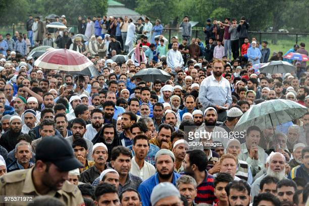 People gather to perform funeral prayers for Shujaat Bukhari veteran journalist and EditorinChief of English daily 'Rising Kashmir' in Kreeri some...