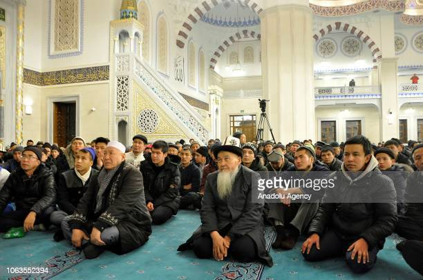 People gather to pray at Central Imam Serahsi Mosque during a religious ceremony within the celebrations for Mawlid alNabi the birth anniversary of...