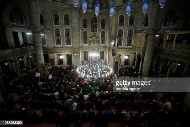 People gather to pray at Eyup Sultan Mosque during a religious ceremony within the celebrations for Mawlid alNabi the birth anniversary of Muslims'...