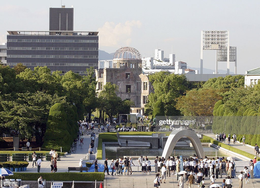 People gather to pray for A-bomb victims at the Peace Memorial Park on August 5, 2004 in Hiroshima, Japan. Tomorrow Hiroshima will mark the 59th anniversary of the dropping of the first atomic bomb in Hiroshima at the Hiroshima Peace Memorial Park.