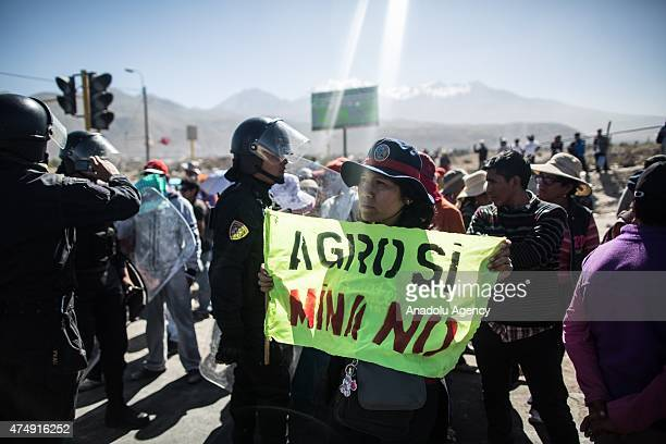 People gather to protest against a 1400 million dollars mining project by Southern Peru in the southern region of Islay 1100 km south of Lima which...