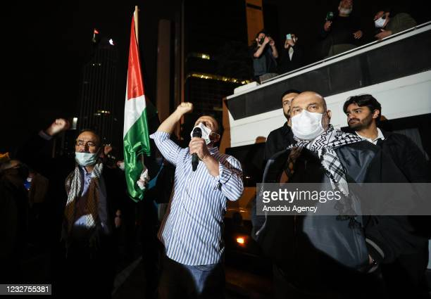 People gather to protest against Israel's attack on Masjid al-Aqsa at Damascus gate of the Old City and Sheikh Jarrah district in East Jerusalem on...