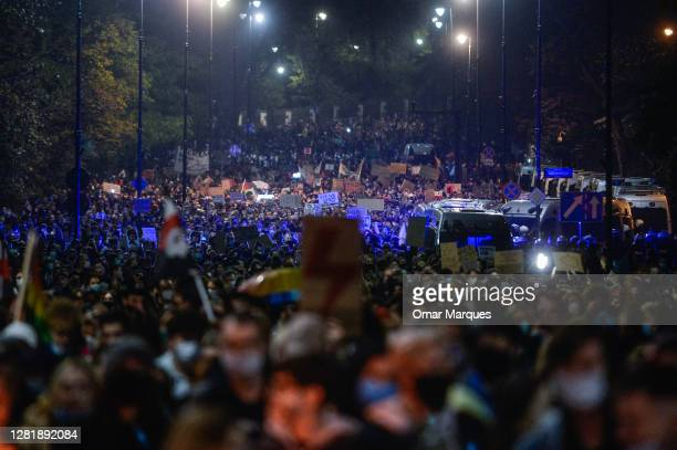People gather to protest for the second day against the Constitutional Court ruling on tightening the abortion law on October 23, 2020 in Warsaw,...