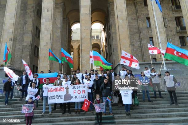People gather to protest Khojaly Massacre during its 26th anniversary in Tbilisi Georgia on February 25 2018 The massacre on February 2526 is...