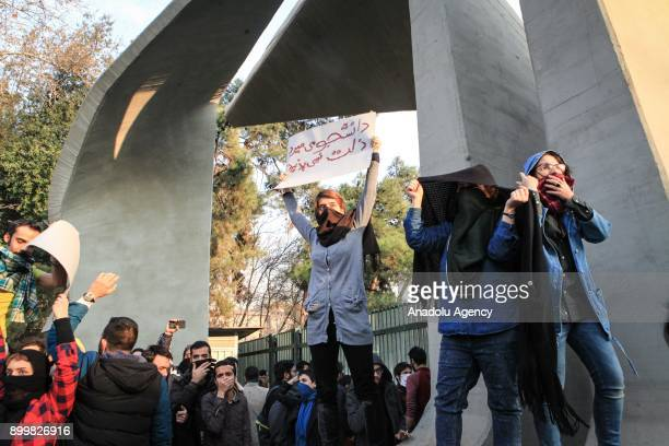 People gather to protest over high cost of living in Tehran Iran on December 30 2017
