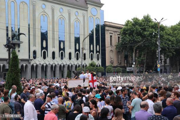 People gather to protest Russian committee's attendance to 26th General Session of the Inter-Parliamentary Orthodoxy Assembly in Tbilisi, Georgia on...