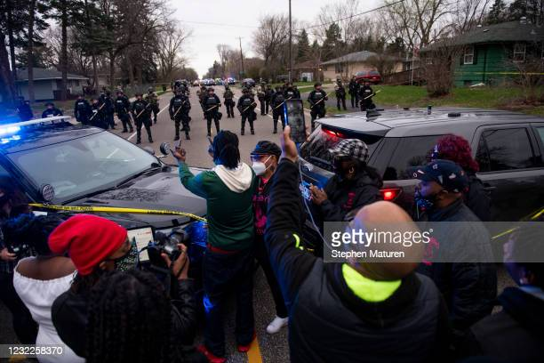 People gather to protest the police on April 11, 2021 in Brooklyn Center, Minnesota. After Brooklyn Center police shot and killed Daunte Wright...