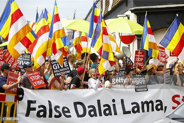 People gather to protest the spiritual leader of the Tibetan people 14th Dalai Lama accused with pursuing policy of apartheid within Buddhist...