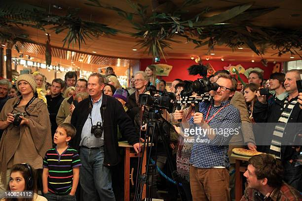 People gather to see the winners of the World Cornish Pasty Championships announced at The Eden Project on March 3, 2012 in St Austell, England. To...