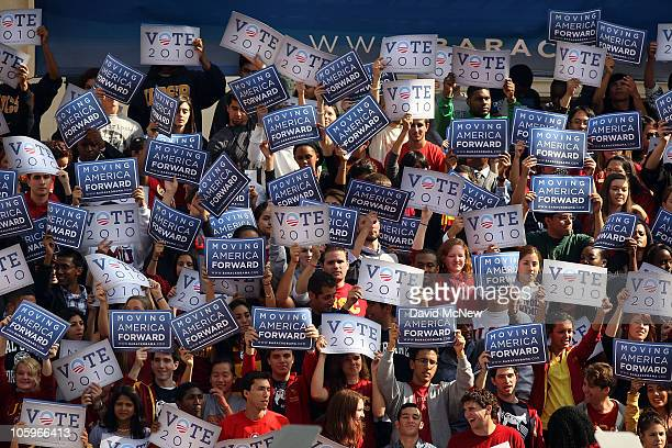 People gather to see US President Barack Obama at a Moving America Forward rally at the University of Southern California on October 22 2010 in Los...