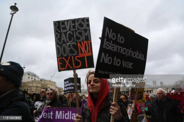 People gather to stage a demonstration against the twin terror attacks in New Zealand mosques, islamophobia, antisemitism and racism in London,...