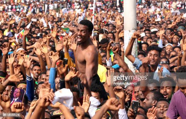 People gather to stage a demonstration in support of Ethiopian Prime Minister Abiy Ahmed at Meskel Square in Addis Ababa, Ethiopia on June 23, 2018.