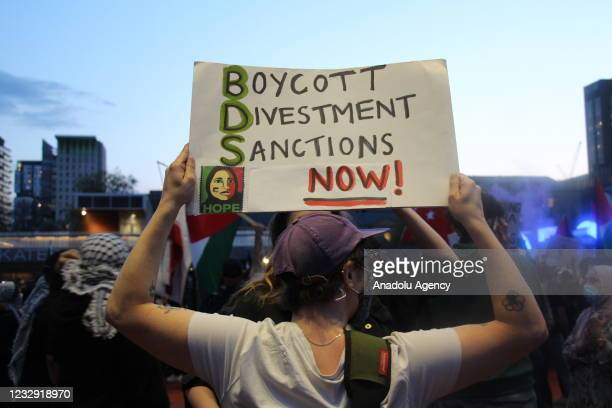 People gather to stage a demonstration in support of Palestinians and to protest against Israeli attacks on Gaza Strip and East Jerusalem on the 73rd...