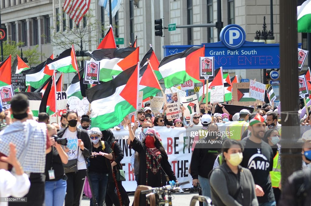 Demonstration in support of Palestinians in Chicago : News Photo