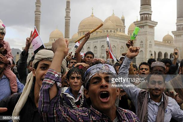 People gather to support the 'supreme council' which was established for state affairs by Houthi and former President Ali Abdullah Saleh's party...