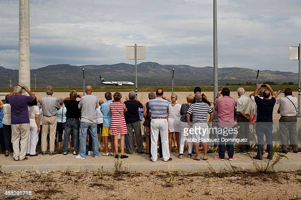 People gather to watch the first commercial flight take off at Castellon airport on September 15 2015 near Castellon de la Plana in Castellon...
