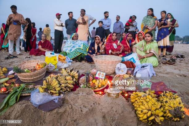 People gather to worship the Sun god at Marina beach during the festival Chhath Puja is one of the vibrant and colorful festivals of India Mainly...