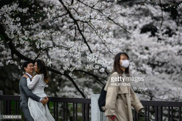 People gather underneath cherry blossom trees at Kitanomaru Park in Tokyo on March 27 2020