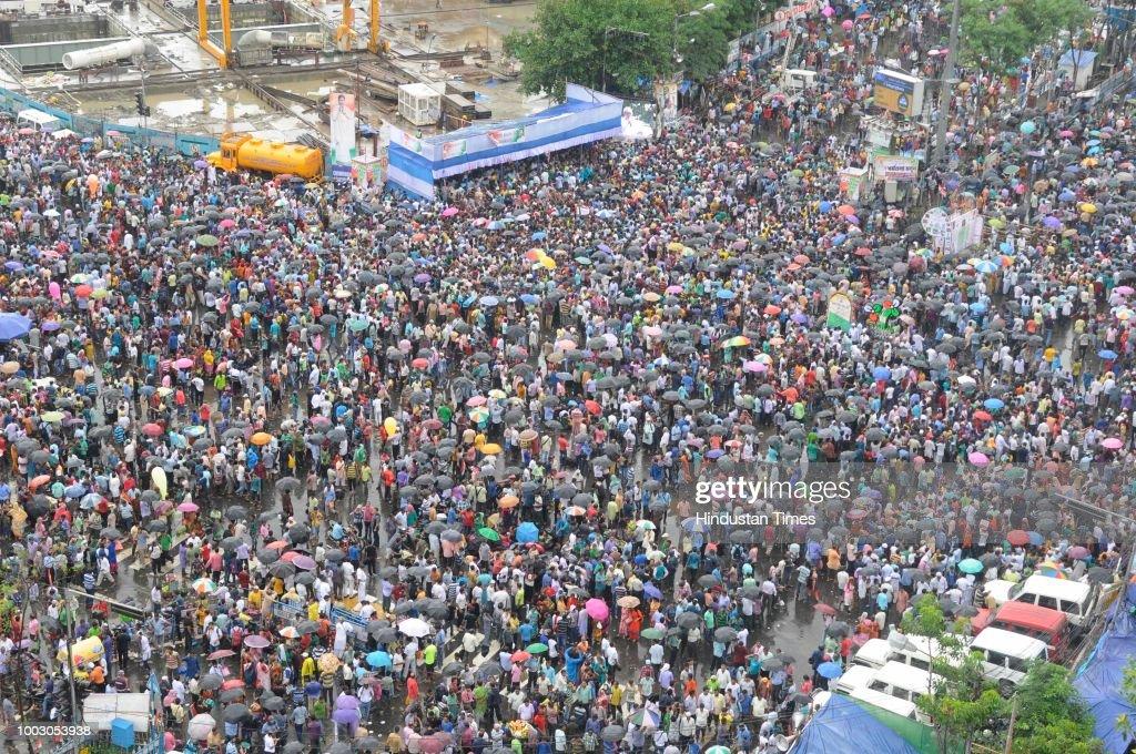 Trinamool Congress Observes Annual Martyrs Day Rally At Esplanade Crossing