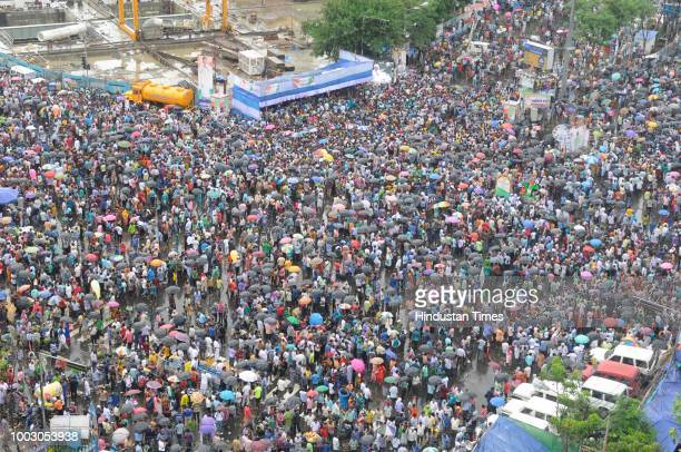 People gathered as Trinamool Congress observes its annual Martyrs Day rally at Esplanade crossing on July 21 2018 in Kolkata India The Martyrs Day...