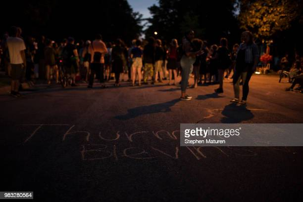 Candles illuminate a memorial at a vigil for Thurman Blevins on June 24 2018 in Minneapolis Minnesota Blevins was shot and killed yesterday after an...
