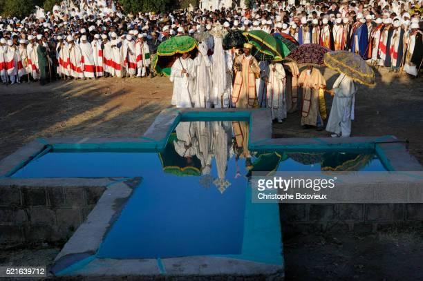 People gathered at Baptism pool during Timkat Festival in Lalibela