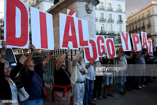 People gathered at 'Puerta del Sol' in Madrid to show support to Venezuelan President Nicolas Maduro and protest against the American imperialism