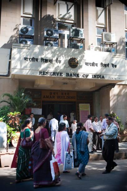 People gathered at the Reserve Bank of India, Mumbai, India,