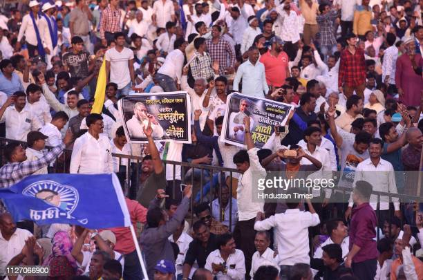 People gathered for Vanchit Bahujan Aghadi headed by Prakash Ambedkar with its ally Asaduddin Owaisiled All India MajliseIttehadulMuslimeen held a...