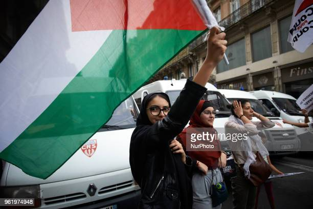 People gathered in front of the Chamber of Commerce and Industry of Toulouse in protest to the coming of the Israël's ambassador in France Aliza...